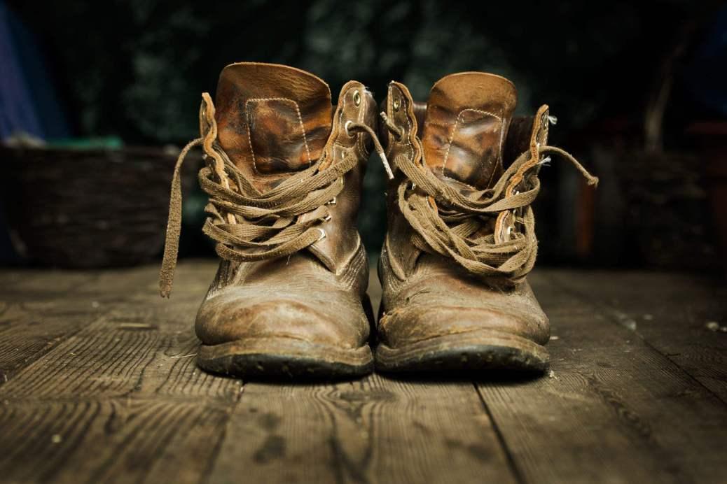 old boots on warn wood floor