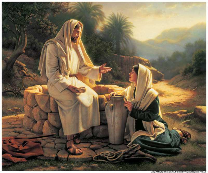 Savior by the well speaking with a woman